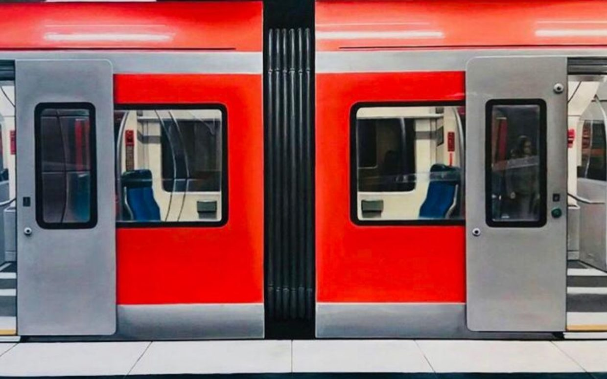 Painting by daniel grita representing a metro with open doors