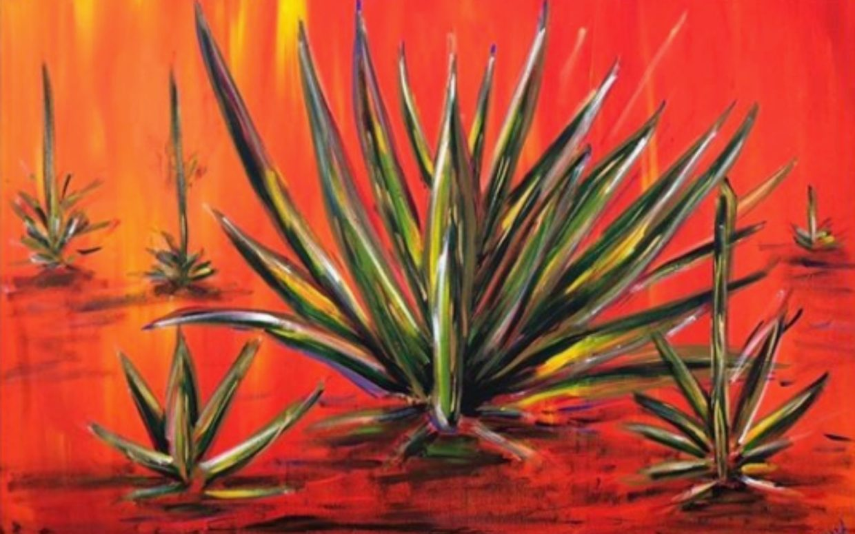 Large painting by anshul mundani representing aloes on a red back ground