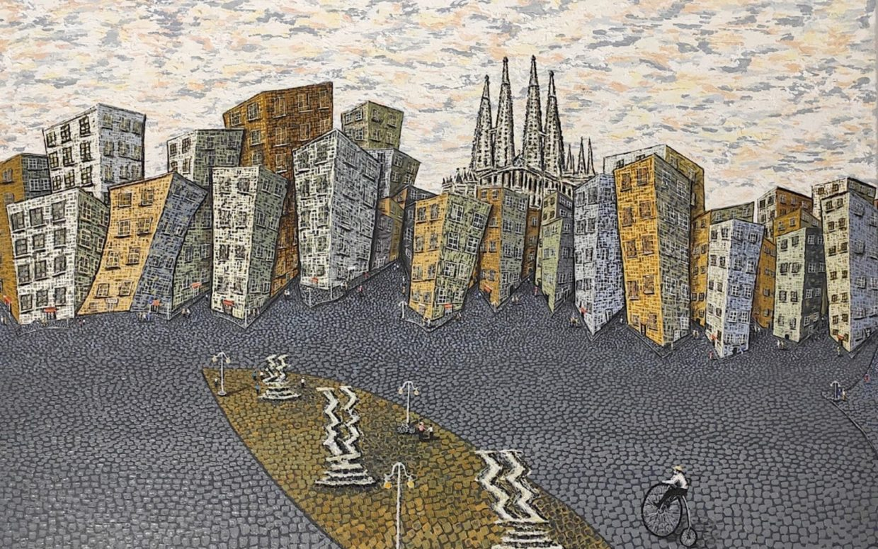 Painting by oneire mora representing barcelona with a view on La sagrada familia