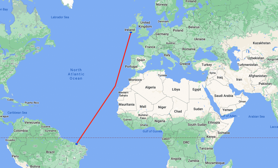 A map showing the route to row from Ireland to Brazil