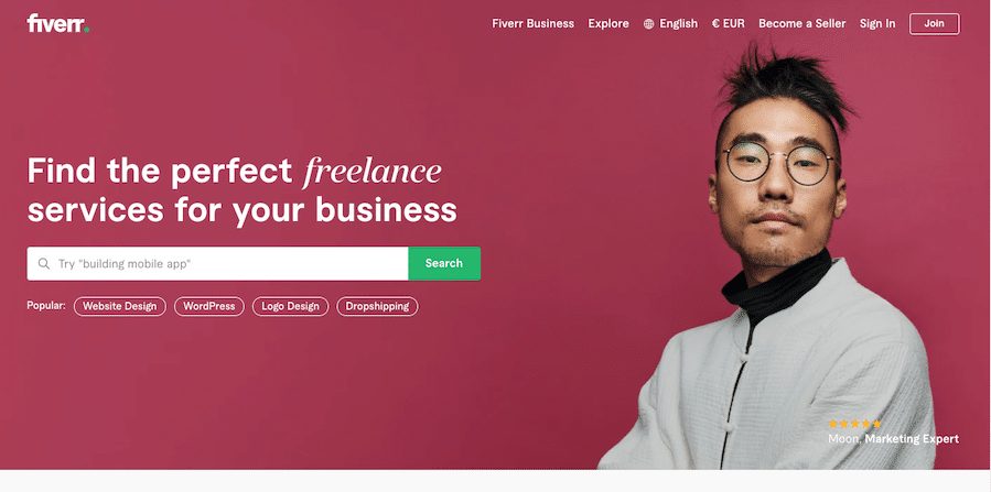 Home page of fiverr webpage for freelancers