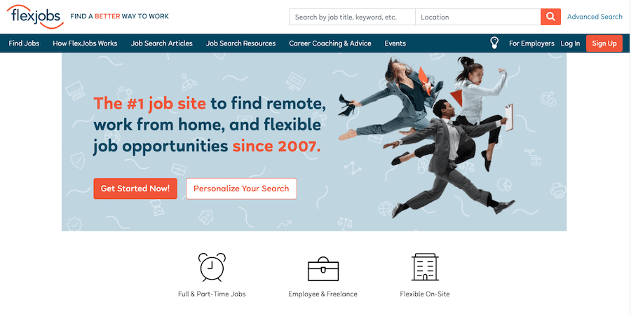 Home page of flexjobs webpage for freelancers