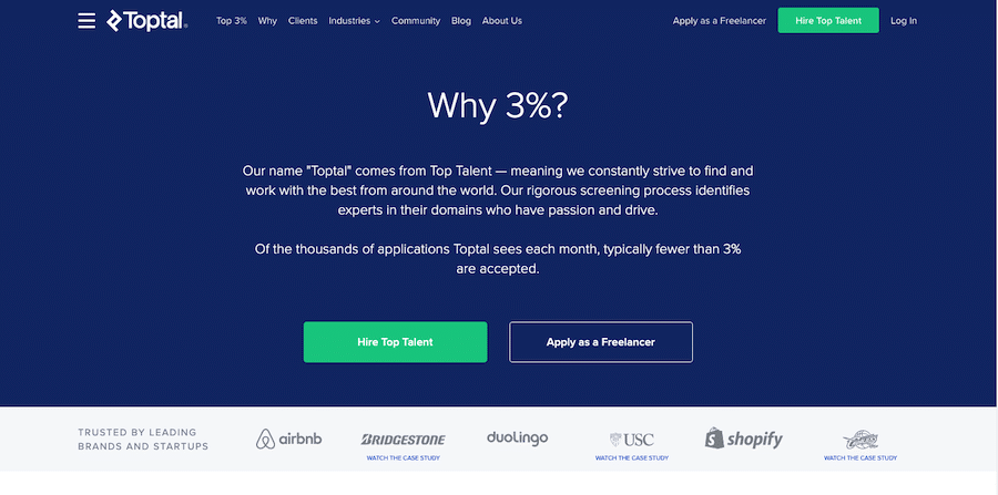 Home page of TopTal webpage for freelancers